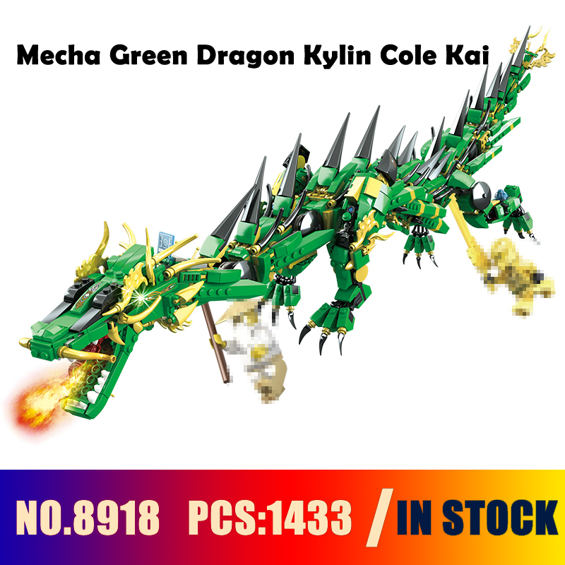 Compatible with lego Models building toy 8918 1443PCS 2in1 Ninja Mecha Green Dragon Kylin Cole Kai Building Blocks toy & hobbies compatible with lego ninja 70596 models building toy 10530 1307pcs base home samurai x cueva building blocks toys