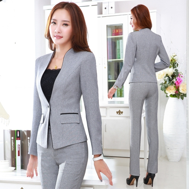 Office Style Blazer Pants Black Gray Women Business Suits Formal