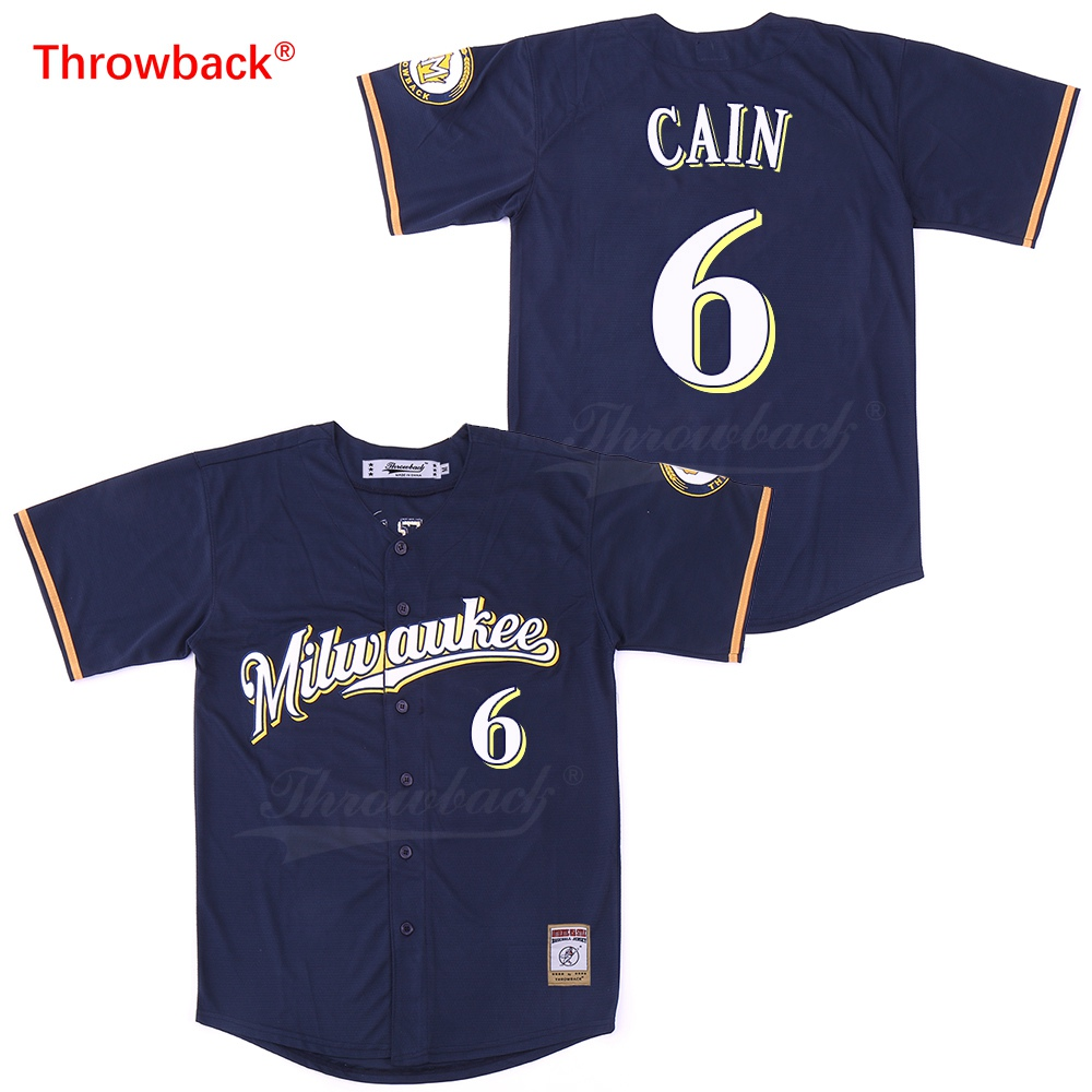 low priced b44a5 761b9 US $26.99 |Throwback Jersey Men's Milwaukee Baseball Jersey Cain Jerseys  Shirt Stiched Size S XXXL Fast Shipping Colour Blue Wholesale-in Baseball  ...