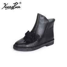 Модная обувь Челси женские 2017 Натуральная кожа ручной работы винтажные женские ботильоны цветок на осень-зиму женская обувь
