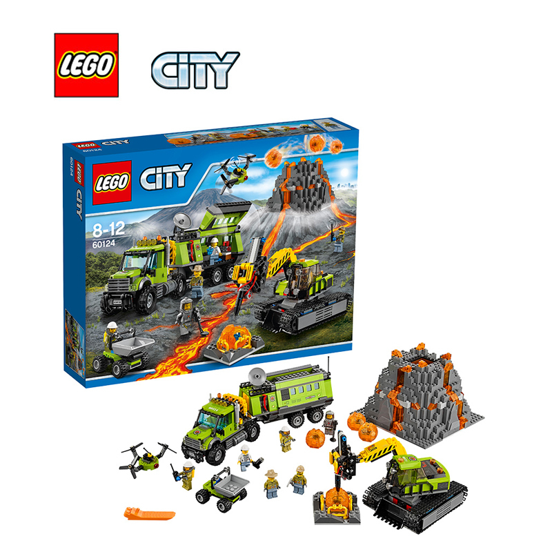 LEGO City Volcano Exploration Base Architecture Building Blocks Model Kit Plate Educational Toys For Children LEGC60124 lepin 02012 city deepwater exploration vessel 60095 building blocks policeman toys children compatible with lego gift kid sets