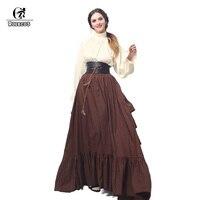 ROLECOS Retro Mujeres Del Traje Medieval Renacimiento vestido de Blusa y Falda Larga Con Cinturón Vestidos de Noche de la Alta Calidad Femenina Vestido de Gitana
