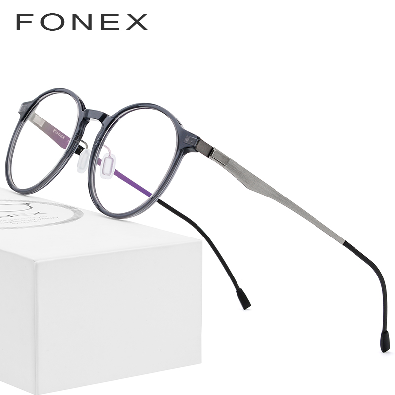 9be4f3a40f9 Detail Feedback Questions about FONEX Acetate Optical Glasses Frame Women  Retro Round Prescription Eyeglasses New Circle Myopia Spectacles Men  Screwless ...