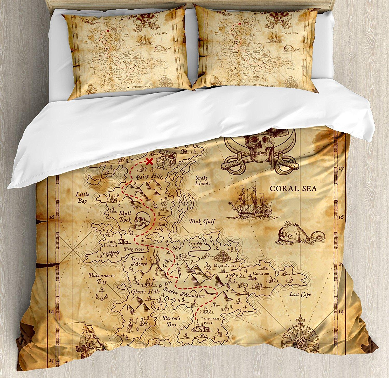 Île carte housse de couette ensemble Super détaillé trésor carte Grungy rustique Pirates or Secret mer histoire thème 4 pièces ensemble de literie