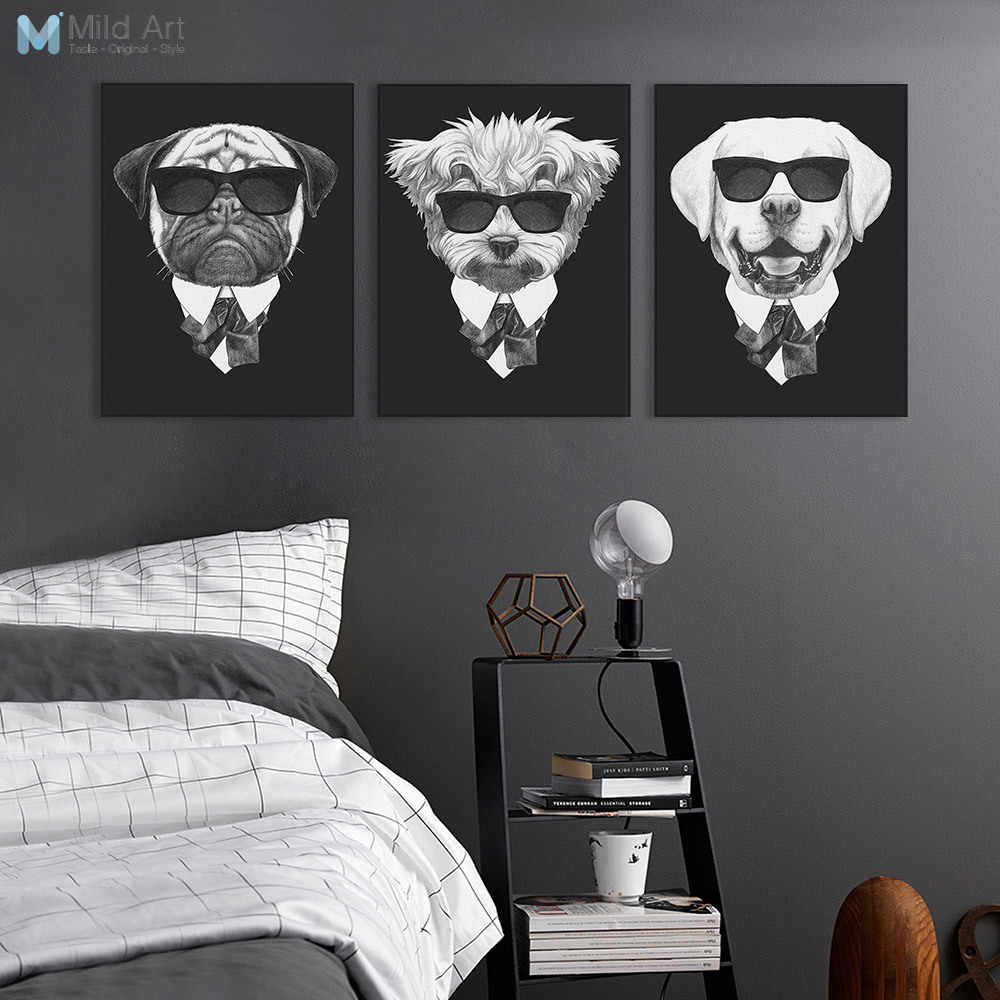 8e5743952214a Modern Black White Italy Mafia Fashion Animals Dog Cat Poster Prints A4  Vintage Wall Art Nordic Home Decor Canvas Painting Gifts