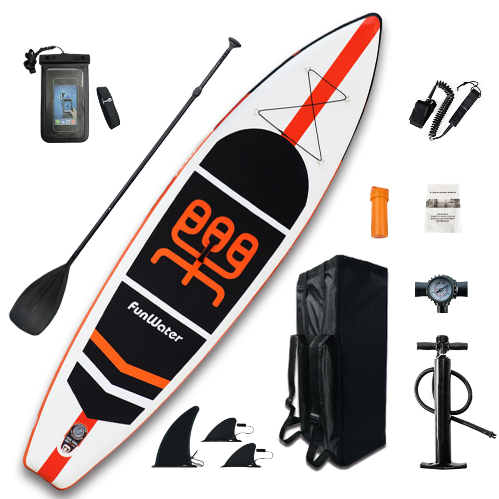 Caiaque inflável Stand Up Paddle Board Sup-Board Prancha de Surf definir 11'x33''x6''with Mochila, trela, bomba, saco à prova d' água