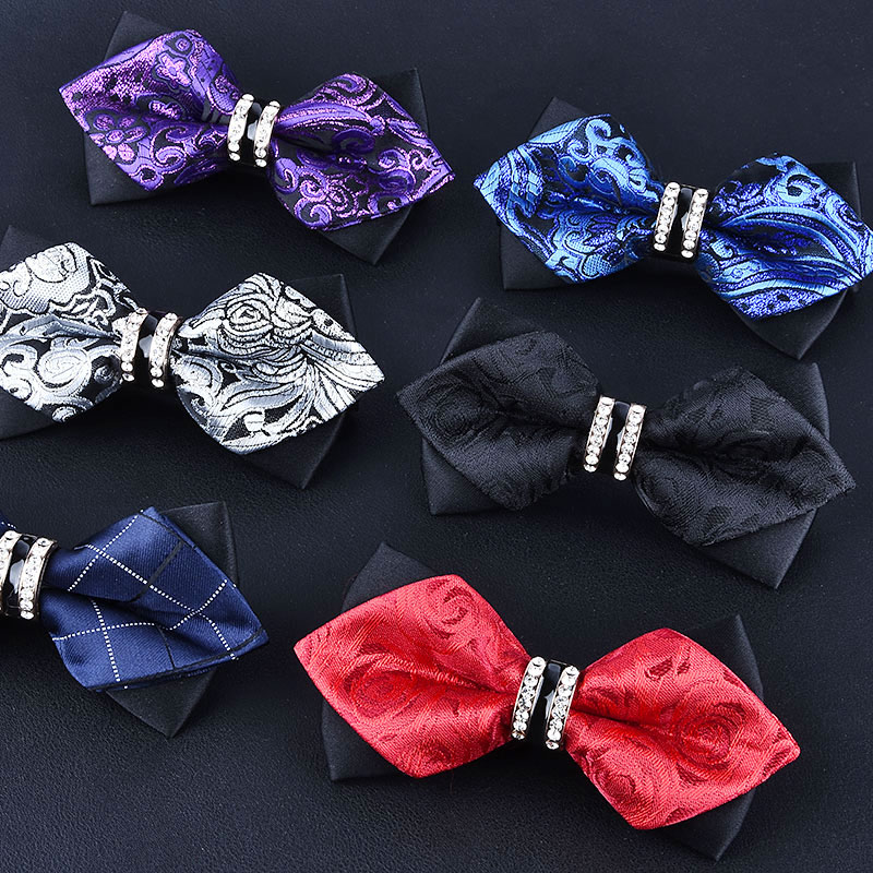 1Piece Bling Crystal Metal Decoration Sharp Corners Bow Tie Butterfly Knot Men's Accessories Wedding Party Banquet Club Business