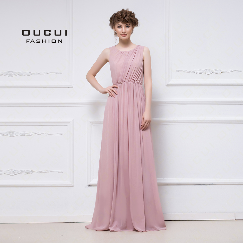 Real Photo Romantic Pink Long   Bridesmaid     Dresses   Scoop Tank A-Line Chiffon   Dress   Cut-Out Sexy Back Wear Wedding Party OL103054