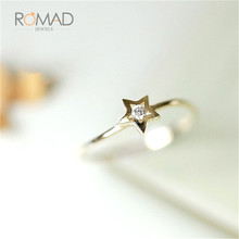 купить Star Shape Rhinestone Engagement Ring Simple Gold Crystal Wedding Ring For Women Fashion Jewelry дешево