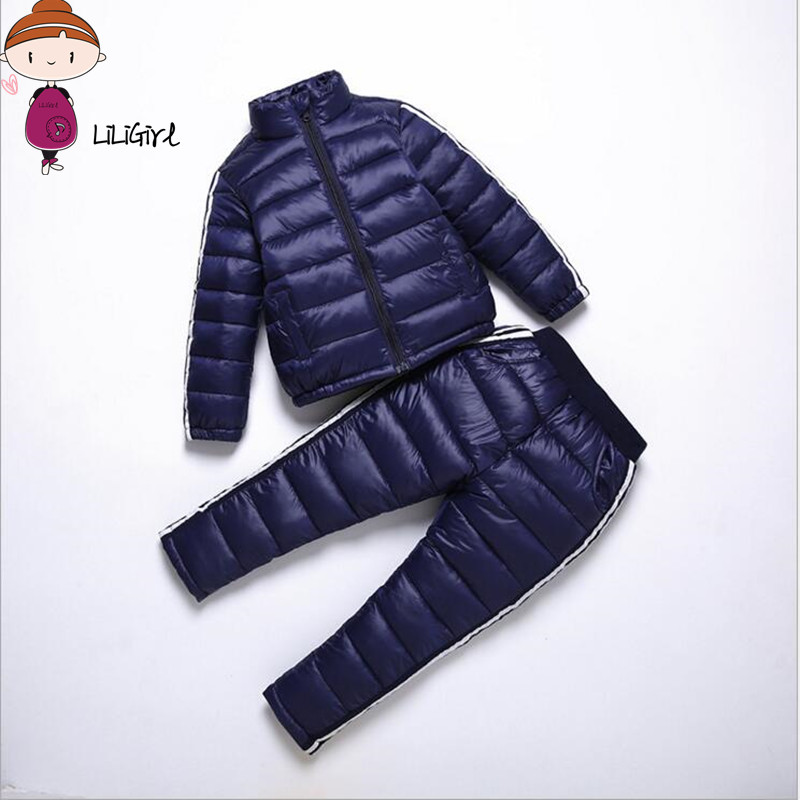 LILIGITL Boy Girl Sportswear Set Children Warm Coat Down Jacket+Trousers Jacket Ski Suit For Children Boys Child Winter Clothes