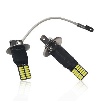 1Pc H1 H3 Canbus Super jasne LED żarówki światło przeciwmgielne samochodu reflektorów 4014 24SMD 12V 6000K światła do Auto lampa motocyklowa tanie i dobre opinie ERGGU Universal 12 v 6500 k 4 8W