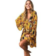 Women Boho Dress 2018 Summer V Neck Loose Floral Dresses Patchwork Lace Hallow Out Bohemian Yellow Beach Sundress #L(China)