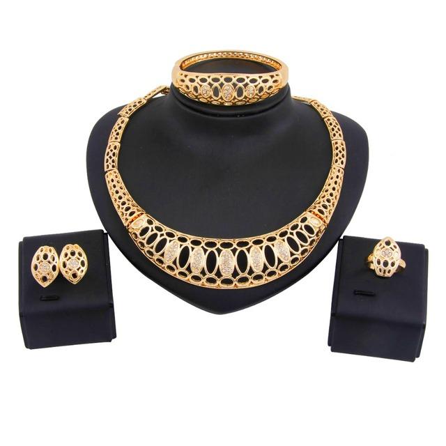 Venta caliente Dubai Chapado En Oro Rhinestone Nupcial aretes Collar de La Joyería de Traje Africana Establece para las mujeres