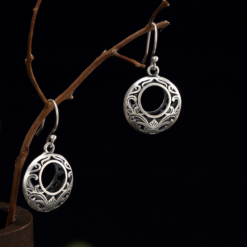 Silver, Antique Pattern, Hollowed Out, Round Lady, Personality, All Kinds Of Pure Silver Earrings, Earrings Wholesale.