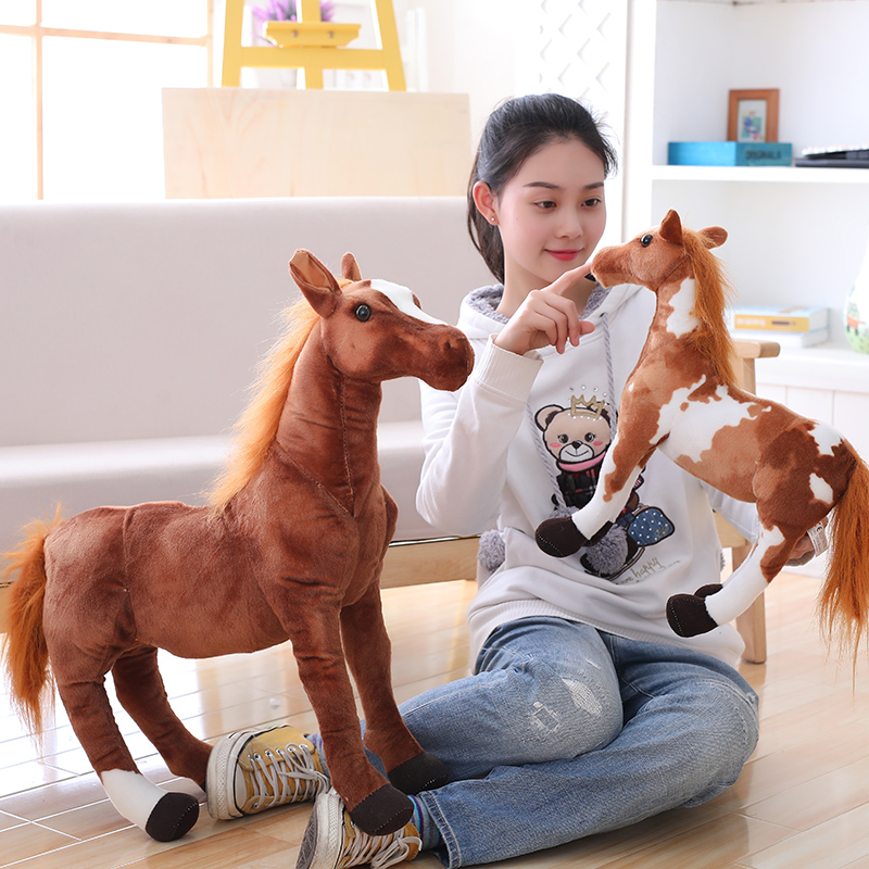 New Simulation Horse Plush Toy 4 Styles Stuffed Animal Dolls High Quality Classic Toys Kids Birthday Gift Home Decor Prop Toy recur toys high quality horse model high simulation pvc toy hand painted animal action figures soft animal toy gift for kids