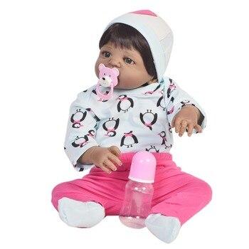 "23""57cm full silicone reborn babies dolls bebe alive fashion design vinyl menina bathe doll black skin Children Best Gifts"
