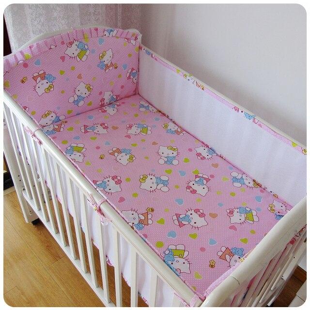 Promotion! 5PCS mesh girl baby bedding set bumper bed sheet crib Cot Bedding Baby Set,include:(4bumper+sheet)