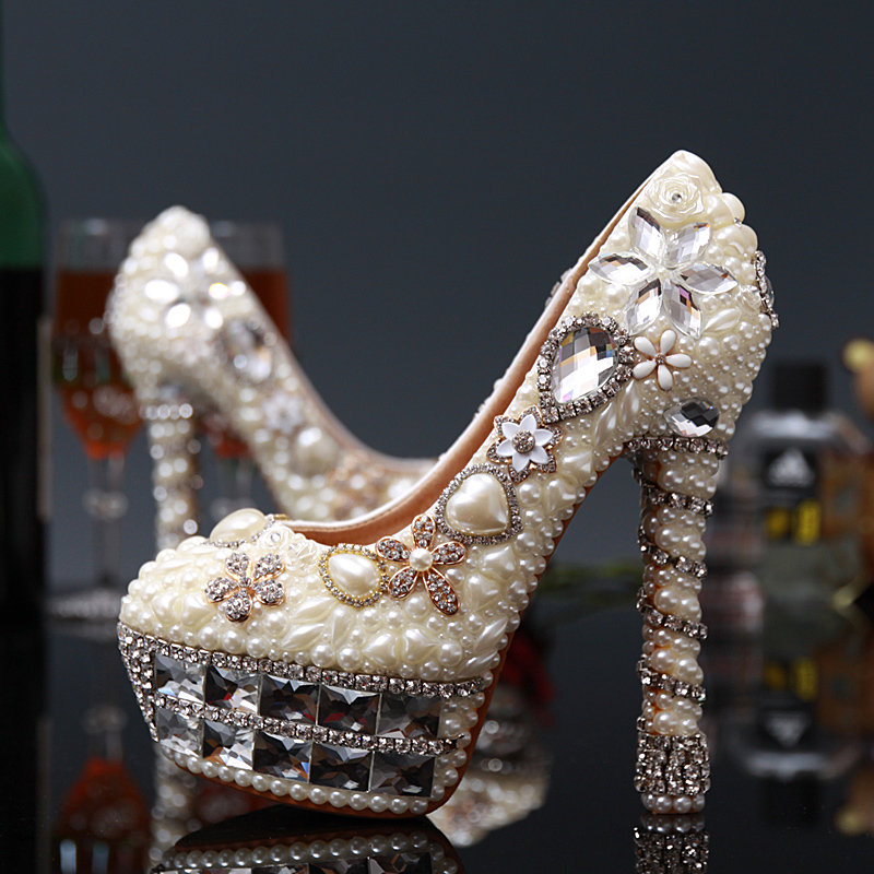 Women Wedding Pearl Shoes Luxury Crystal Pumps Sexy Bridal Super High Heels 14cm Female Beige Rhinestone