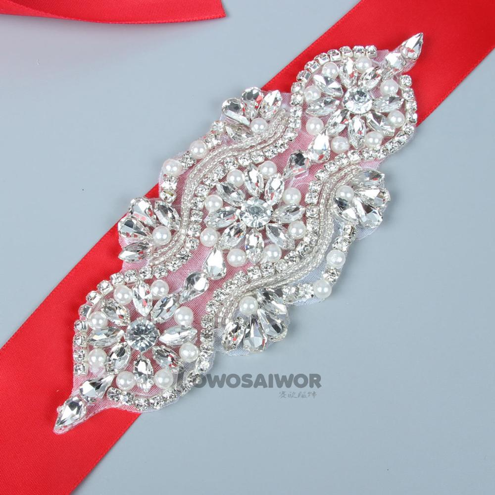 Red Color Stain Ribbon Unique Design Shiny Pearl Wedding Dress Belt Crystal Rhinestone Wedding Sash
