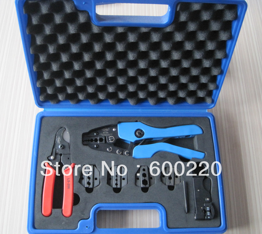 crimping tool set for coaxial cable with cable stripper and cable cutter женское платье none 2015 o a2043