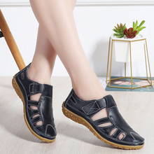 Women Sandals 2019 Summer Genuine Leather Shoe Large Size 42 Summer Fashion New Female Casual Flat Sandal Ladie Beach Shoes W11