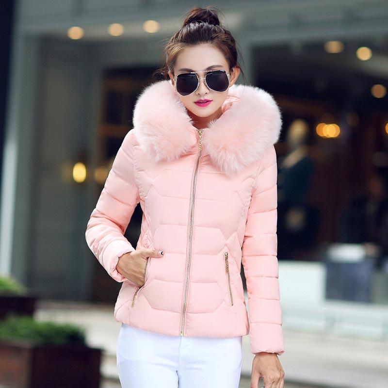 Down     coat   female slim winter jackets women 2018 new hot fur collar hooded warm women   down   jacket outerwear winter   coat   women