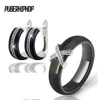 Silver Color AAA CZ Ceramic Bridal Jewelry Sets Black White Rings Earrings Set Wedding Jewelry For