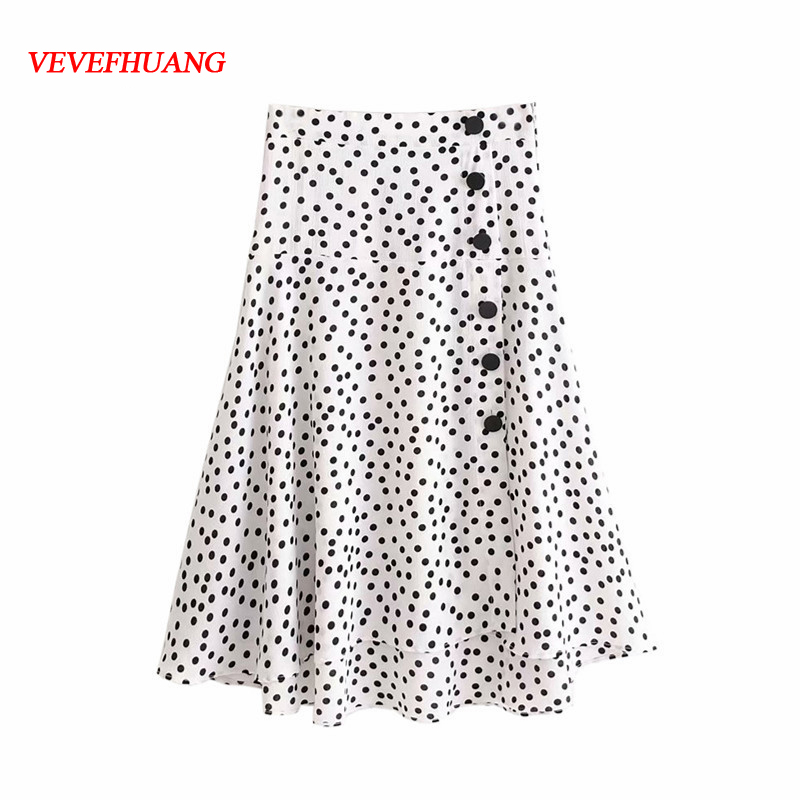 Women Summer Sweet Skirts White Polka Dot Pleated Skirt With Button Casual Fresh Simple Clothes Femme Blusas Feminine Party Lady
