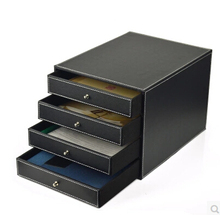 4 drawer wood structure leather container desk filing cabinet office storage box office organizer document container