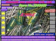 Aoweziic 100ชิ้น100ยูเอฟ35โวลต์6*12ความถี่สูงต้านทานต่ำไฟฟ้าประจุ35โวลต์100ยูเอฟ6X12