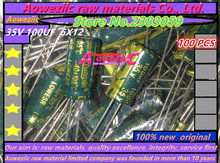Aoweziic  100 PCS  100UF 35V   6*12  high frequency low resistance electrolytic capacitor 35V 100UF  6X12