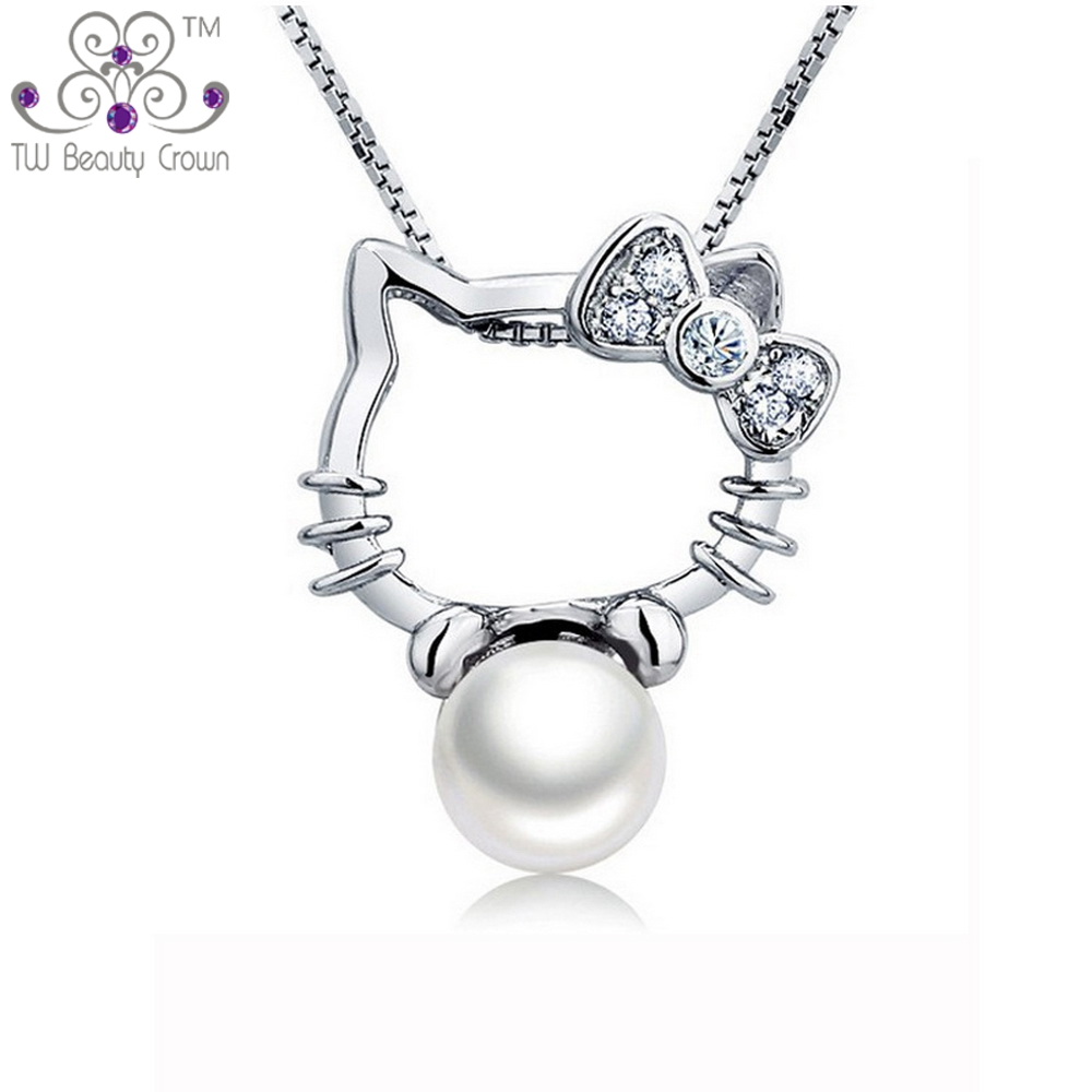 Hello Kitty Pendant ALP Real 925 Sterling Silver Jewelry Cute White Natural Freshwater Pearl Hello  Kitty Pendant Necklaces For Women Young Ladies Girls