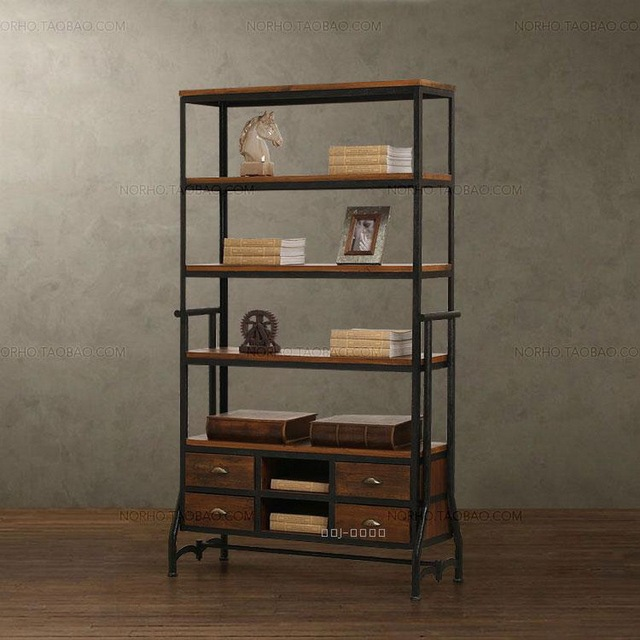 Us 1950 0 American Country Antique Wrought Iron Wood Bookcase Ikea Storage Locker Small Cabinet Shelf Books In Swivel Plates From