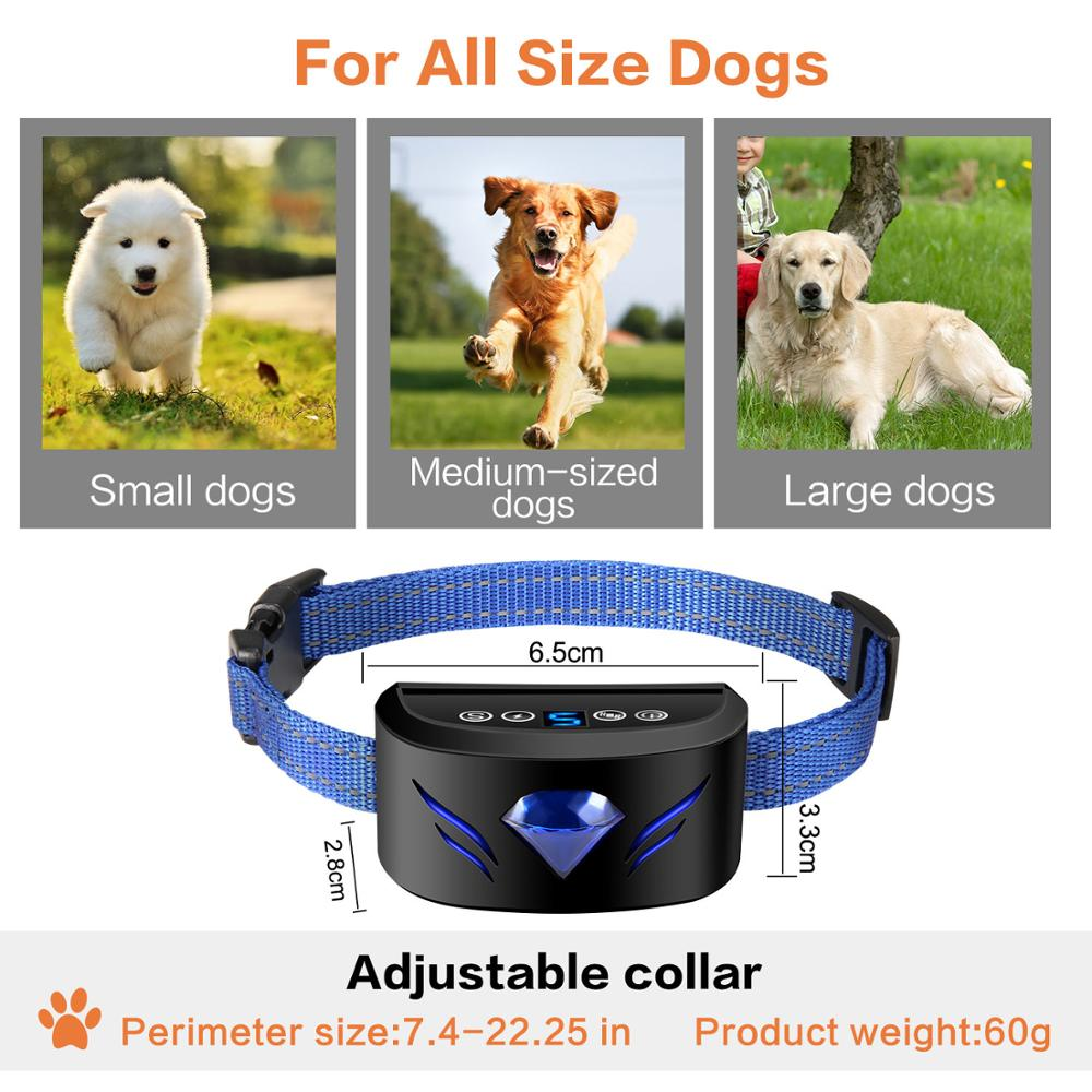 Dog Anti Bark Collar Waterproof With Beeps And Vibration Electric Shock Anti Barking No Bark Training Collar Chargeable in Bark Deterrents from Home Garden