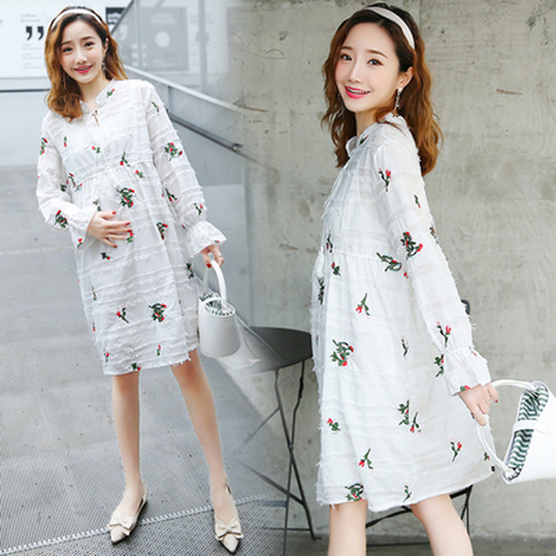 Fashion Embroidered Flower Elegant Maternity Dresses Clothes for Pregnant Women Tassel Lace-UP Pregnacny Dress Loose Plus sizeFashion Embroidered Flower Elegant Maternity Dresses Clothes for Pregnant Women Tassel Lace-UP Pregnacny Dress Loose Plus size