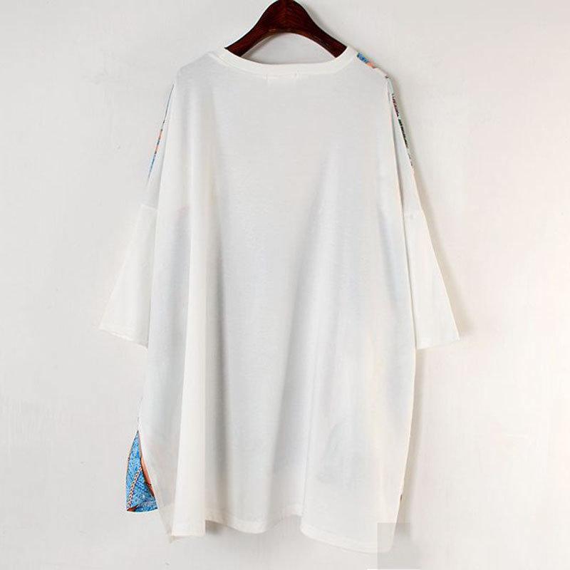 Long Women Europe Fashion 2019 Spring Summer O-neck Short Sleeve T-shirt Female Patchwork Casual Irregular Tee E470 17
