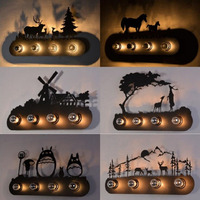 Industrial Wind Horses Double Horseshoe Wall Forest Deer Windmill Restaurant Bar Cartoon Wall Lights