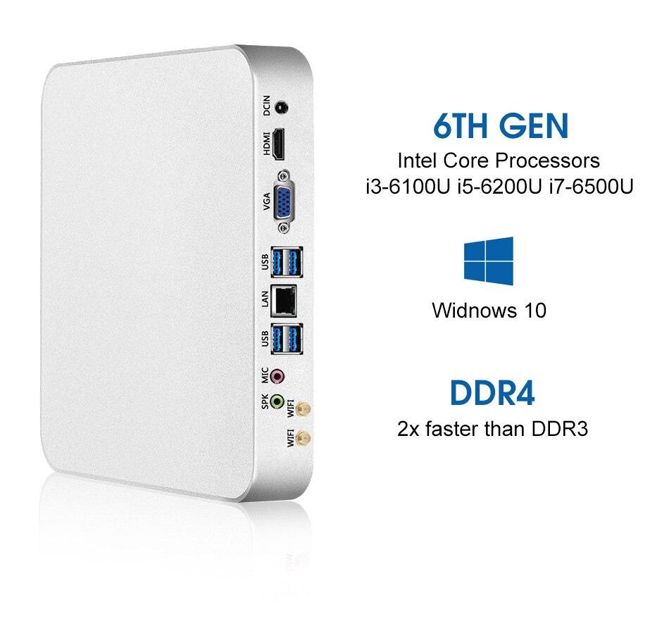 XCY Mini PC Intel Core i7 6500U i5 6200U i3 6100U Windows 10 Linux 4K UHD  HTPC HDMI VGA 300Mbps WiFi