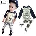 Hello Enjoy Girls clothes Children set Lovely lion print Design sport long sleeve T-shirt + striped pants summer casual new 2016