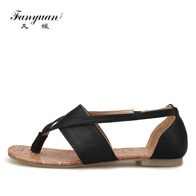 200509772ab2 Fanyuan Gladiator Sandal 2018 woman retro cover heel flat ladies shoes  Black Elastic band ladies fancy sandal Plus Size 33-43