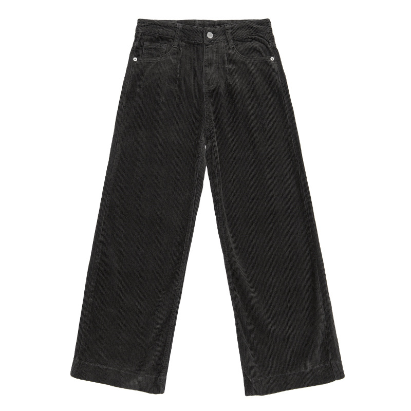 Black Ancho Ol Otoño Cintura Pantalón Pants Corduroy 2018 Pants coffee Café Alta Pantalones Invierno Oficina Flojos Mujeres Negro qv86wqt