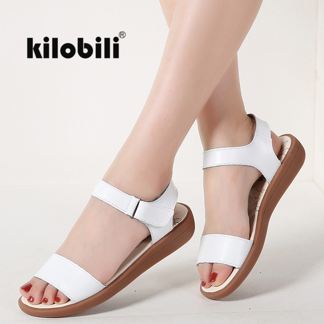 9883adbbbcaf kilobili Women Classic Sandals Shoes Genuine Leather Ankle Strap Sandals  Ladies Casual Shoes Gladiator Female Footwears Summer
