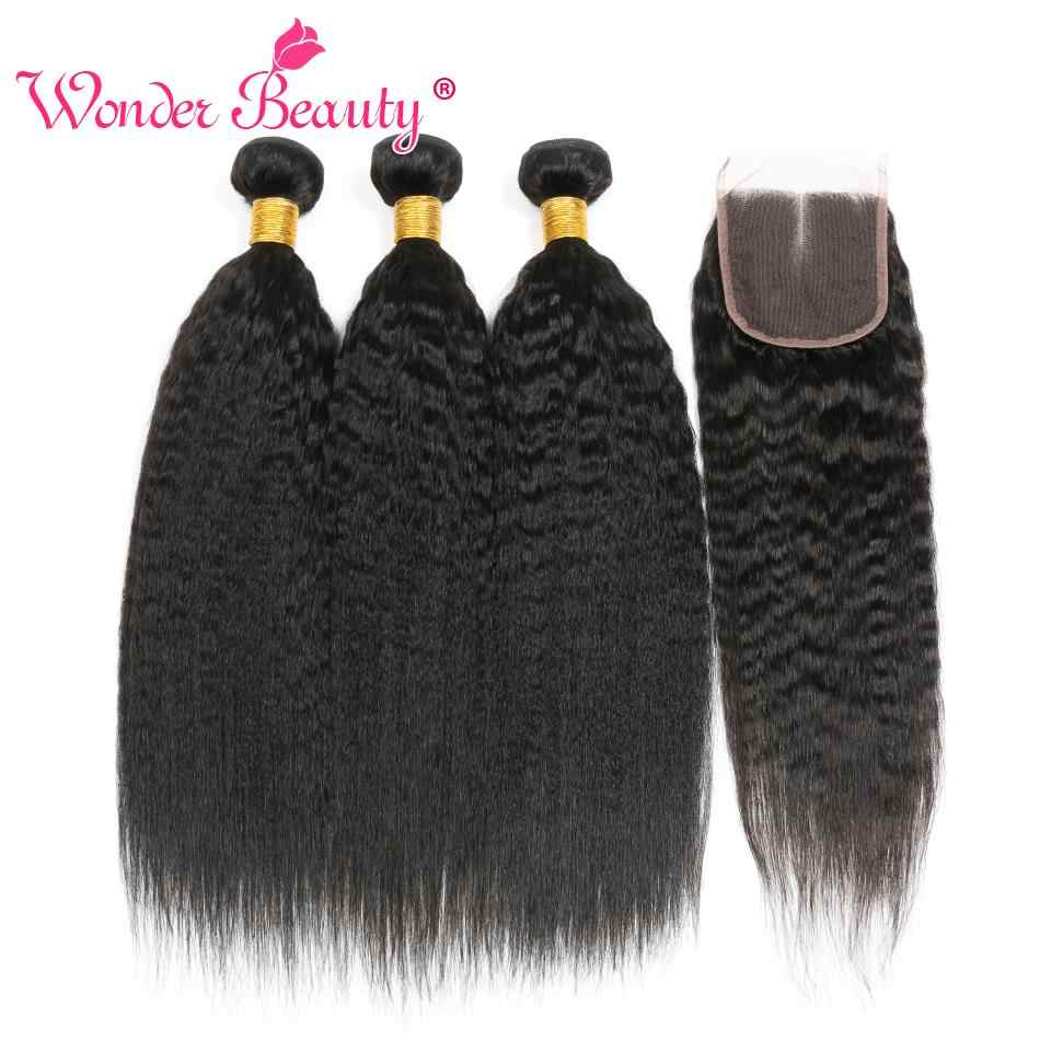 "Kinky Straight Hair Bundle With Closure Brazilian Hair Weave Bundlles 8-30"" Wonder Beauty Human Hair Bundles with closure Nonrem"