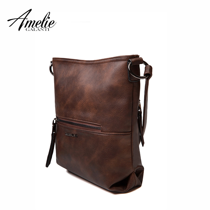 d3fa543e9a AMELIE GALANTI medium cross-body bag for women shoulder hobo zipper purse  with long shoulder strap