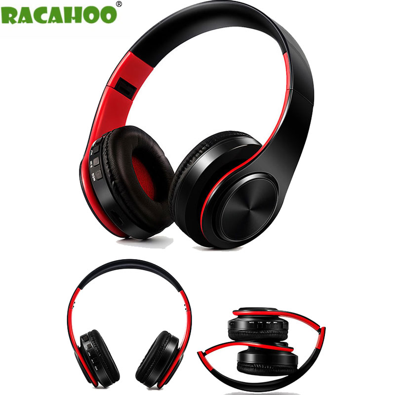 RACAHOO Wireless Bluetooth Earphone Bass Stereo Headphone with Microphone Support Wired SD Card USB For xiaomi iphone oppo phone new arrival xy1505 bluetooth wireless earphone sport running with microphone for all phone xiaomi good bass stereo