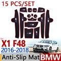 Para BMW X1 2016-2018 Anti-Slip F48 Taça De Borracha Almofada Sulco porta Mat 15 pçs/set 3 Cores 2017 Acessórios Estilo Do Carro Adesivo