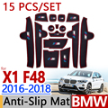 Para BMW X1 F48 2016-2018 Goma Antideslizante Taza Cojín puerta Ranura Mat 15 unids/set 3 Color 2017 Accesorios Styling Car Sticker