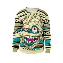 Halloween costume loose round neck party mummy print stage street clothing 2018 new women harajuku sweatshirt clothes bts