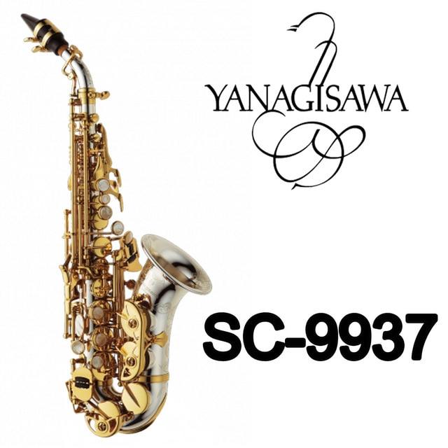 YANAGISAWA Saxofone Soprano Curvo SC-9937 Silvering Latão Sax Bocal Correções Almofadas Profissional Juncos Curva Do Pescoço