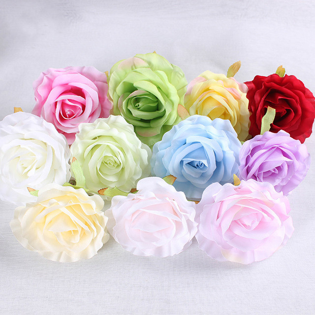 100pcs/lot 10cm Artificial Rose Flower Heads for Wedding Backdrop Flower Wall Decoration DIY Silk Rose Head for Kissing Ball